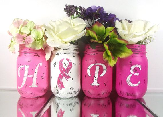HOPE, Painted Mason Jars, Breast Cancer Awareness Decor, Pink Mason Jars, Breast…