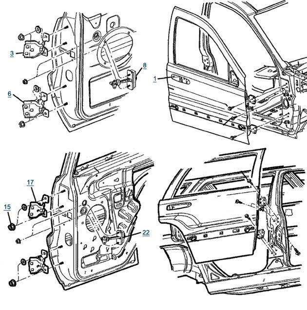 Jeep Wj Grand Cherokee Door Parts | FREE Shipping at 4WD.com