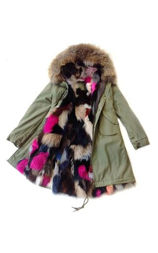 Slim Fit Army Parka Lined In Multicolor Fox And A Natural Murmasky Hood by MR & MRS ITALY for Preorder on Moda Operandi