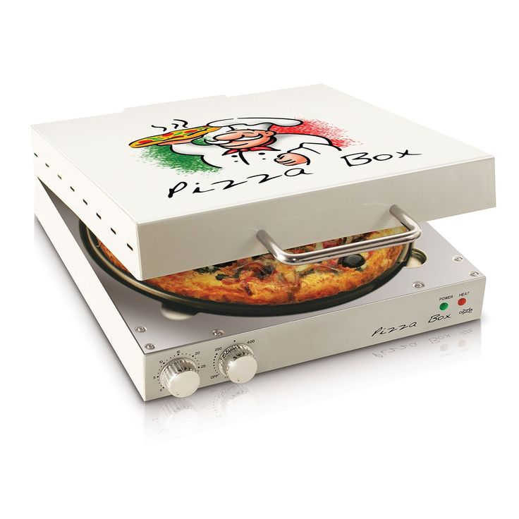 The pizza box oven will make your homemade pizza feel like the real thing straight from the box it will cook a pie frozen or fresh with its rotating