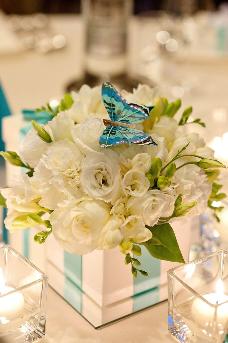 butterfly and tiffany blue decorations