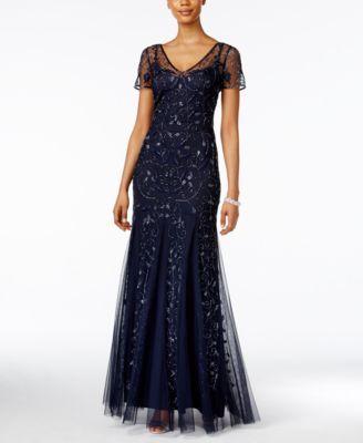 Adrianna Papell Short-Sleeve Floral Beaded Mermaid Gown   macys.com