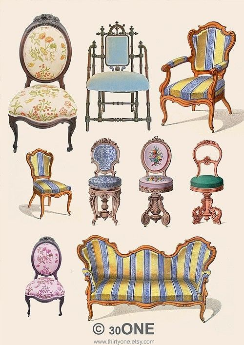 Victorian Furniture - A4 Digital Collage Sheet - For unlimited number of prints - Set1