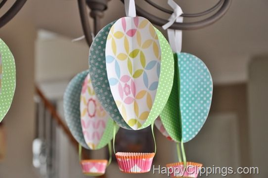 springtime paper hot air balloons egg pattern cardstock. Black Bedroom Furniture Sets. Home Design Ideas
