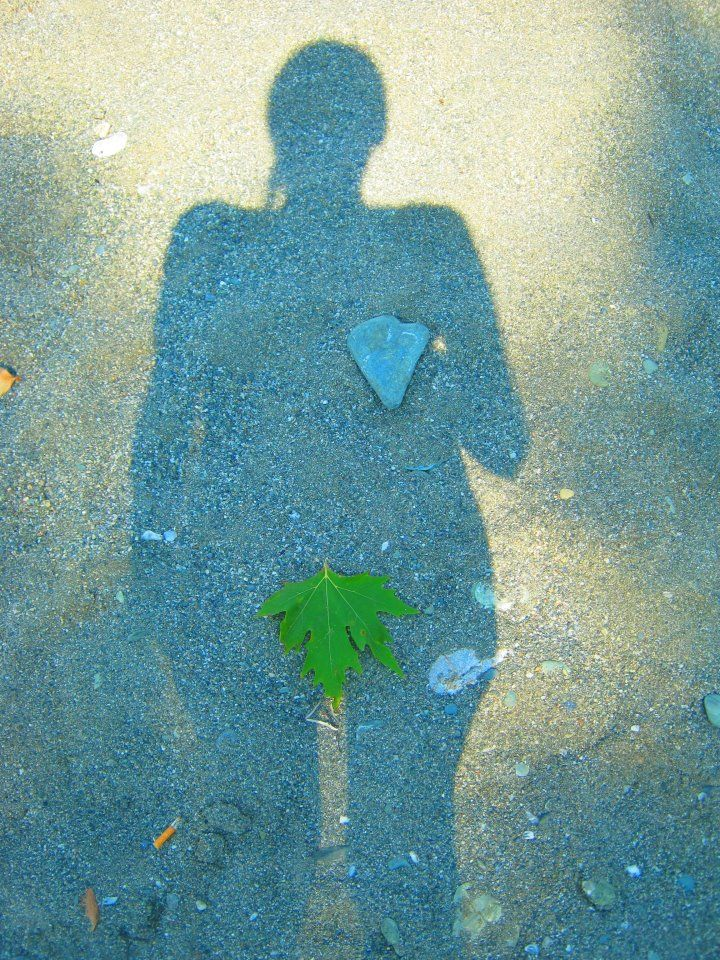 (me and my shadow) Greece  -Leaf, stone, heart-