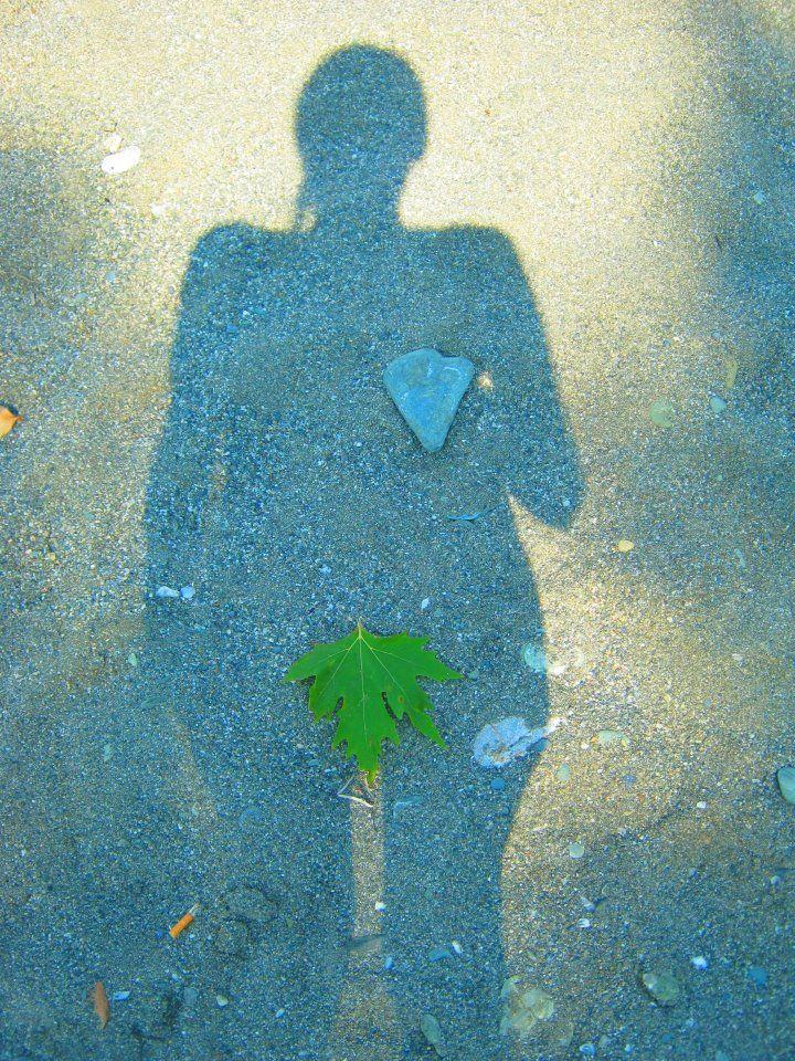 (me and my shadow) Greece  -Leaf, stone, heart-