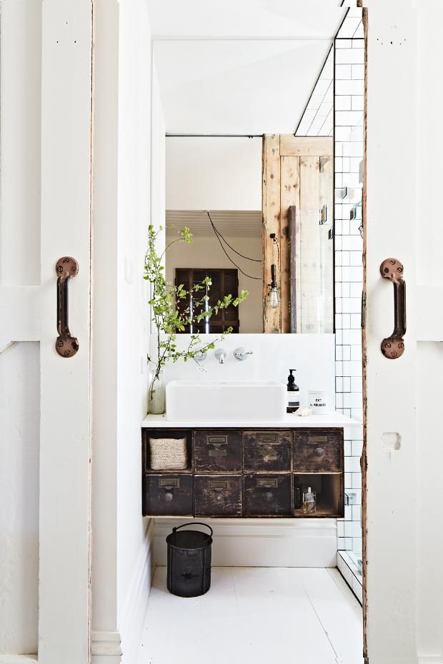 bright industrial bathroom