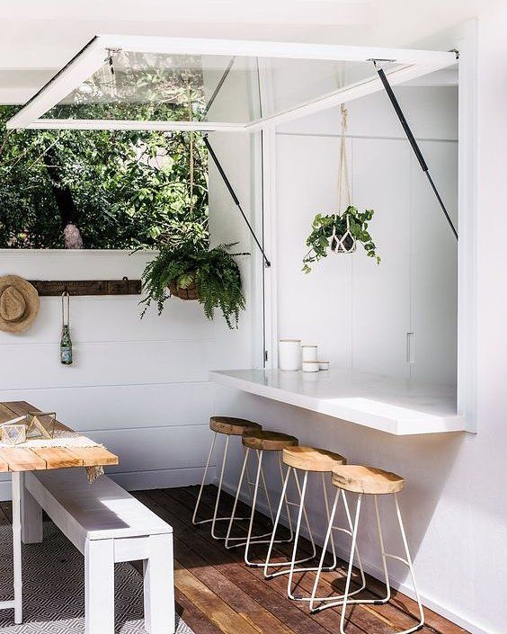 Exterior inspo. Love this bar bench backing off from the kitchen!