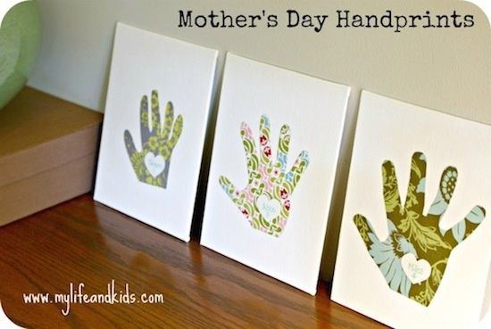 mothers day craft for kids handprint canvas. I'd use cute scrapbook paper and matte Mod Podge instead of wall paper scraps, though.