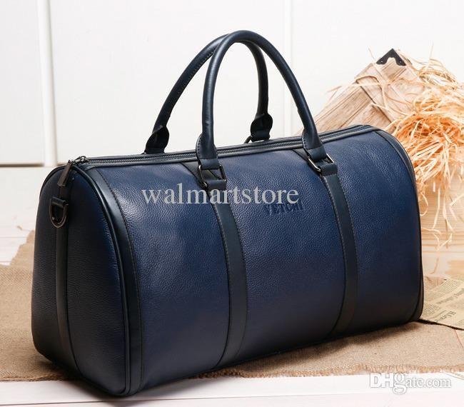 Wholesale 2015 Leather Overnight Bags Women Man Blue Pouch Duffel Bag Mens Box Fashion Duffle