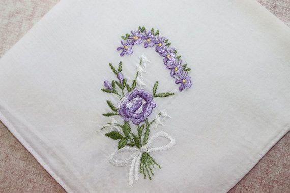 Four Vintage Ladies Handkerchiefs with Flowers