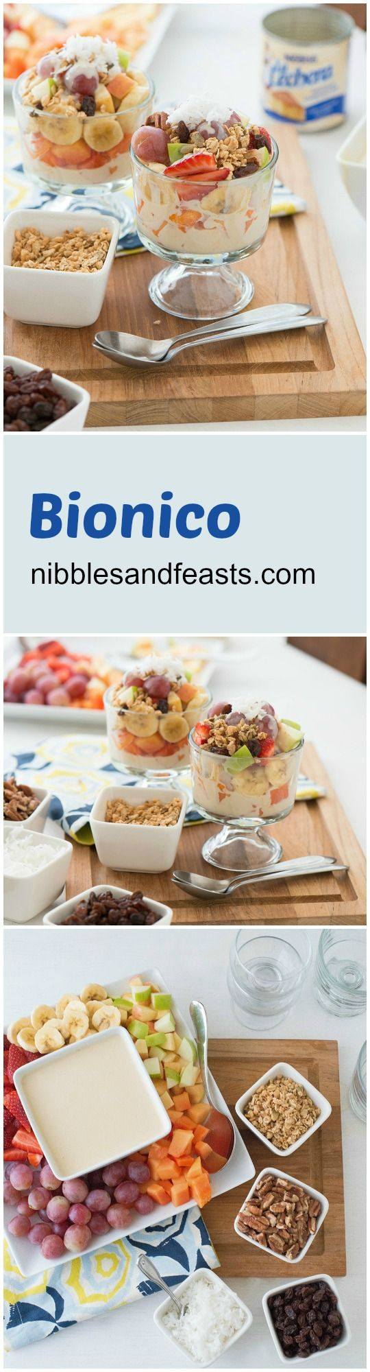 Bionico: A Mexican Street Fruit Parfait made with condensed milk, sour cream (or yogurt), instant coffee and vanilla. A great snack and/or dessert.
