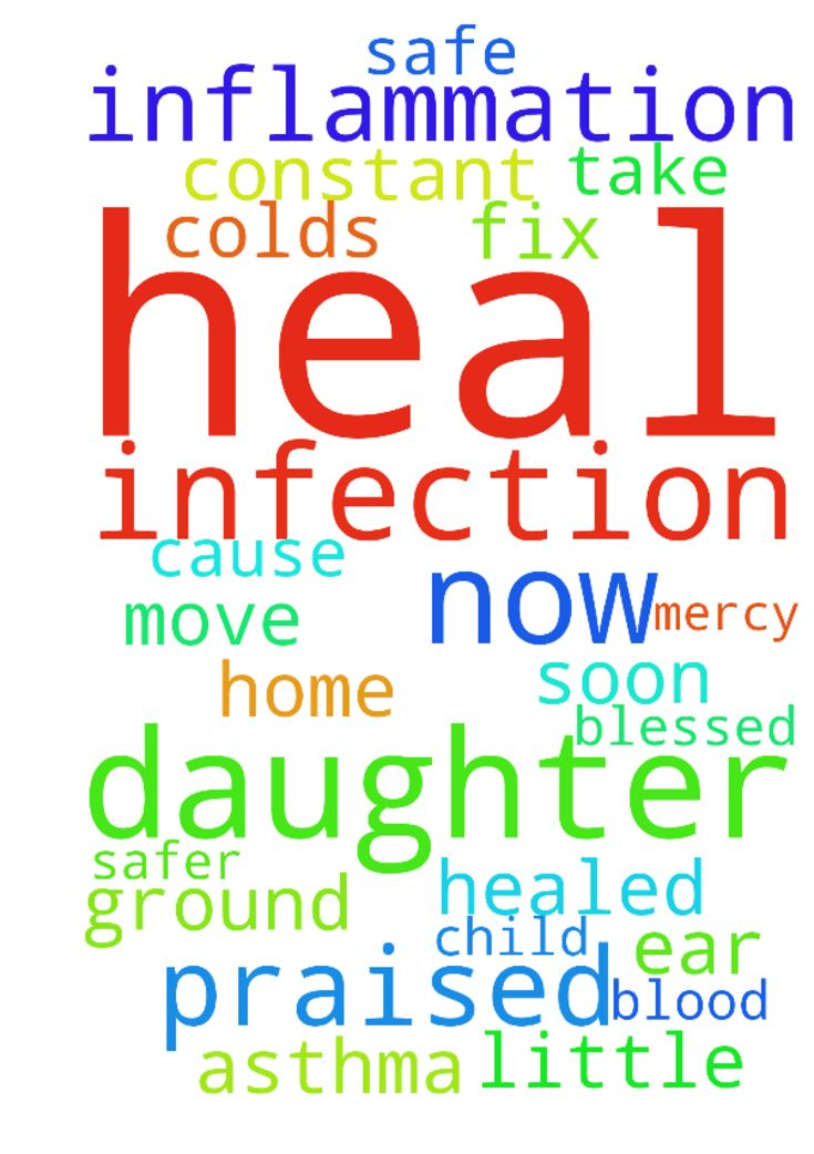 Lord heal Your daughter of this infection now & inflammation - Lord heal Your daughter of this infection now amp; inflammation of Respiratory, ear infections amp; constant laryngitis amp; Root cause. Please agree daughter is healed of this as she cant take off from work. My praised Lord have mercy on Your daughter amp; heal us amp; protect us all, amp; heal me of colds, asthma amp; this little child. Also help fix plumbing amp; keep us all safe now, by your blood covering or move us to safer…