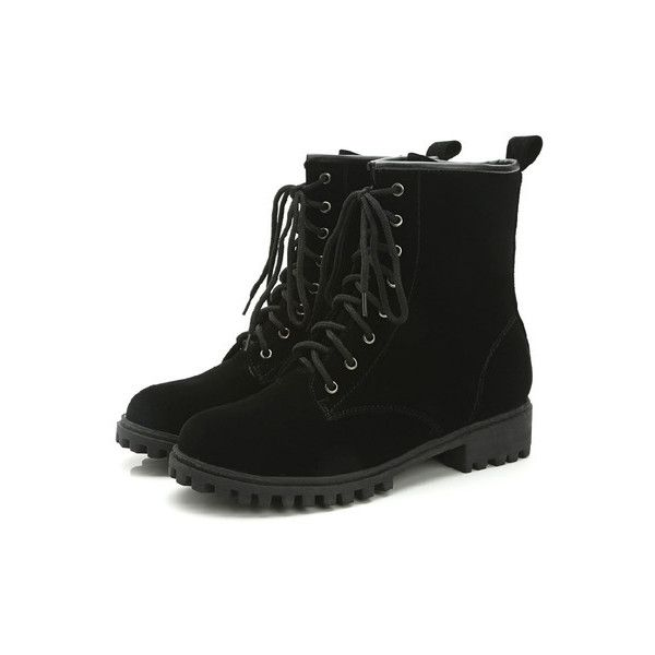 SheIn(sheinside) Black Frosted Lace Up Short Boots (€33) ❤ liked on Polyvore featuring shoes, boots, ankle booties, black, lace up platform bootie, black platform booties, short black boots, platform booties and black bootie