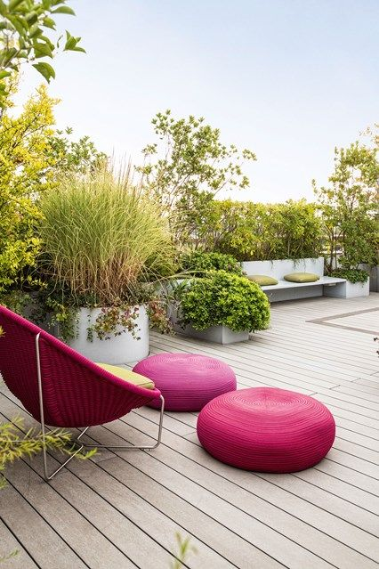 Roof Terrace with Modern Garden Furniture. Balcony & Rooftop Gardens in Small City Garden Design Ideas. Discover how to inject some greenery into your small rooftop garden, terrace or balcony on House & Garden.