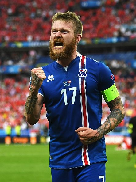 #EURO2016 Aron Gunnarsson of Iceland celebrates his team's victory in the UEFA EURO 2016 Group F match between Iceland and Austria at Stade de France on June...