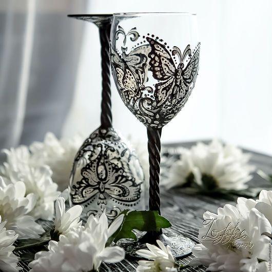 Бокалы, стаканы ручной работы. Ярмарка Мастеров - ручная работа. Купить Винные бокалы -бабочки. Handmade. Подарок девушке, роспись