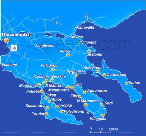 Halkidiki, Map of Greece: Map of Halkidiki and other Greece maps
