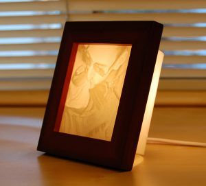 """This Medium Lamp was ordered during the holidays as a wedding gift for the young couple. Our customer wrote: """" The lamp was a wedding gift for an amazing young lady that we've known since she was 4 years old.  This picture was one of her engagement photos.  It melts my heart the love and joy each other have brought to each of their lives."""""""