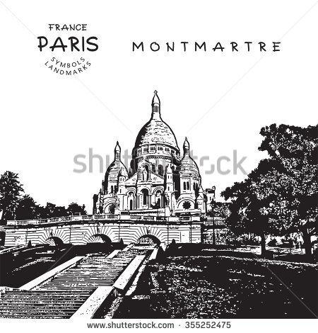 Paris - France. Sacre Coeur Cathedral on Montmartre. Vector illustration.