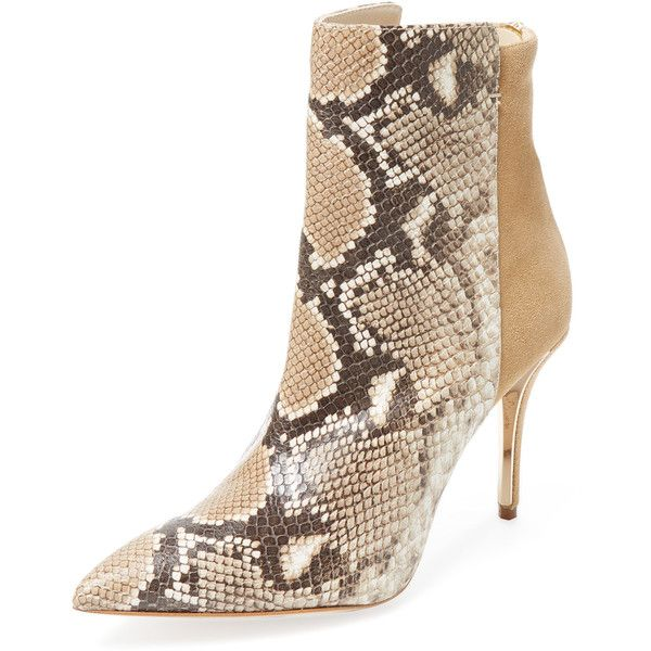 Oscar de la Renta Oscar de la Renta Women's Emela Snakeskin Embossed... ($429) ❤ liked on Polyvore featuring shoes, boots, ankle booties, platform boots, leather bootie, short leather boots, high heel ankle boots and ankle boots