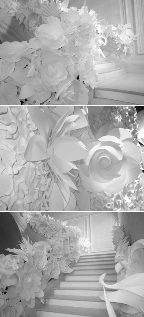 oversized paper flowers fashion show   ... spring summer haute couture decor a billowing showcase of white paper