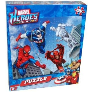 T- Amazon.com: Marvel Heroes 100-Piece Jigsaw Puzzle with Spiderman, Captain America, Silver Surfer and Daredevil: Toys & Games