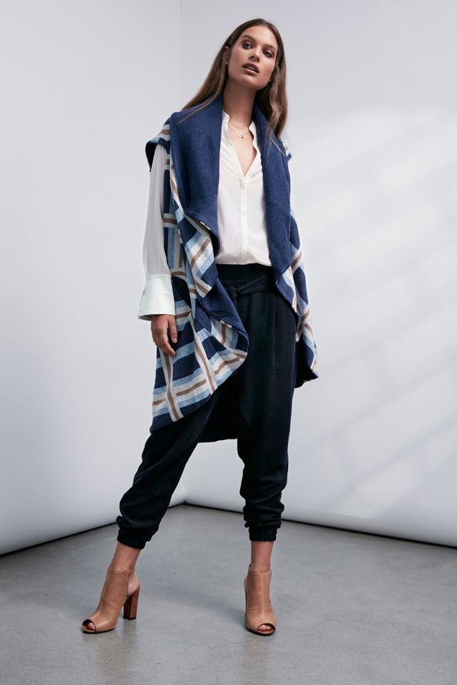 OnceWas: Koshi check double layer knit, Kasumi leather cuff silk shirt and Grey Scale low slung cupro pant.