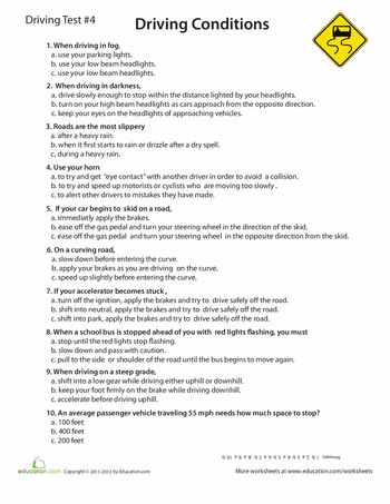 Worksheets: Rules of the Road Practice Test #4