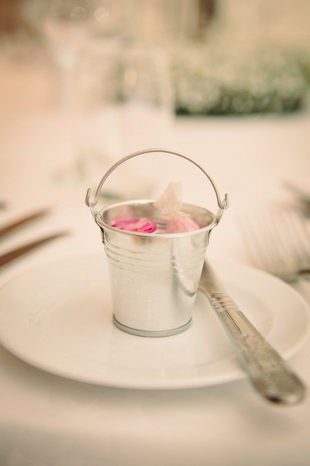 Country rustic wedding favours blush silver at Conyngham Arms