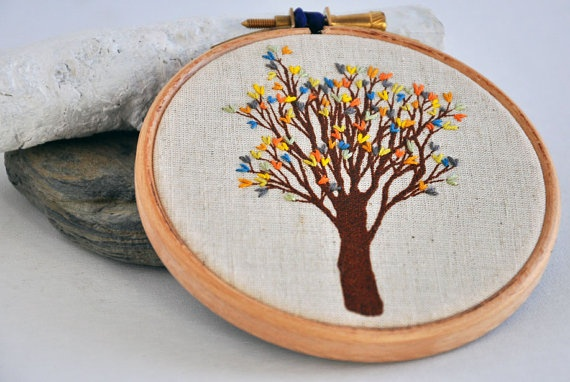 Tree. Pretty colors.Embroidery Hoop