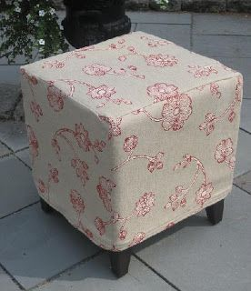 Here is an easy way to change the look of a simple square upholstered stool. The picture on the top shows the original stool. The picture ...