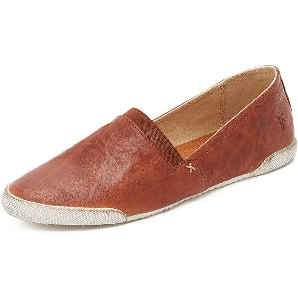 Frye Melanie Slip On Sneakers ($160) ❤ liked on Polyvore featuring shoes, sneakers, cognac, flat pumps, leather slip on shoes, rubber sole shoes, frye sneakers and leather flat shoes
