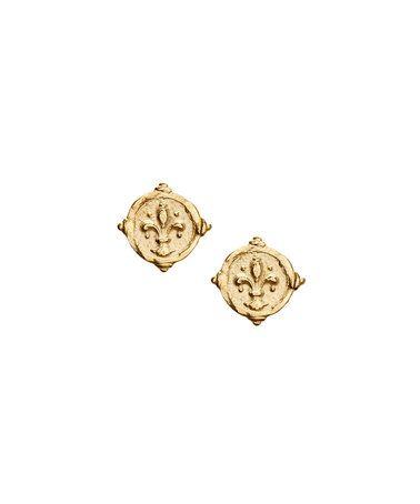 Gold Fleur de Lis Hand-Cast Intaglio Stud Earrings #zulilyfinds