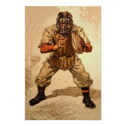 Baseball Poster Vintage Sport Art Catcher - decor gifts diy home & living cyo giftidea