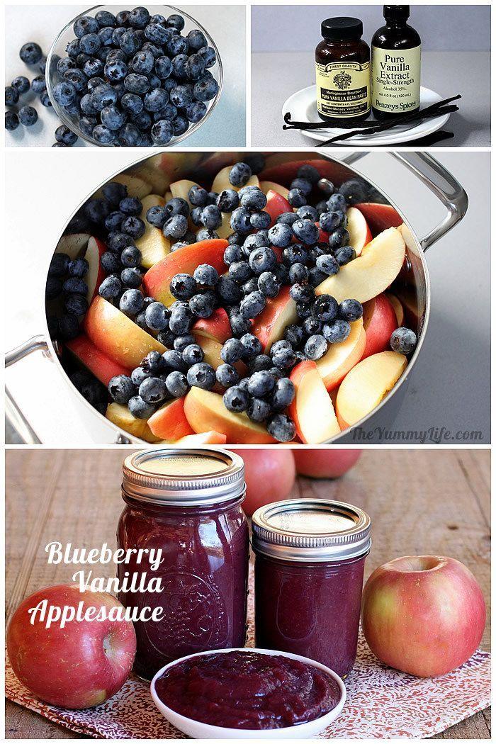Easy & Healthy Blueberry Vanilla Applesauce. No peeling, straining, or added sugar. TheYummyLife.com