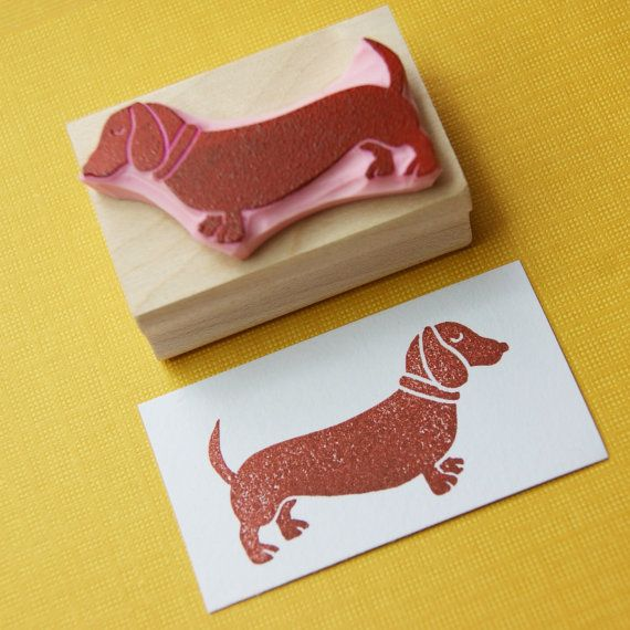 Dachshund Rubber Stamp Sausage Dog Hand by skullandcrossbuns