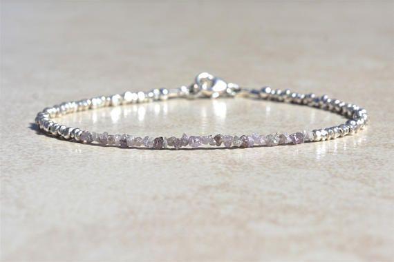 Pink Diamond Bracelet Genuine Raw Rough Diamond Bracelet