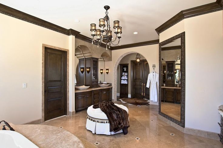 Surprising Full Length Mirror decorating ideas for Foxy Bathroom Mediterranean design ideas with brown Cabinetry chandelier dark wood cabinetry dark wood crown molding hide rub