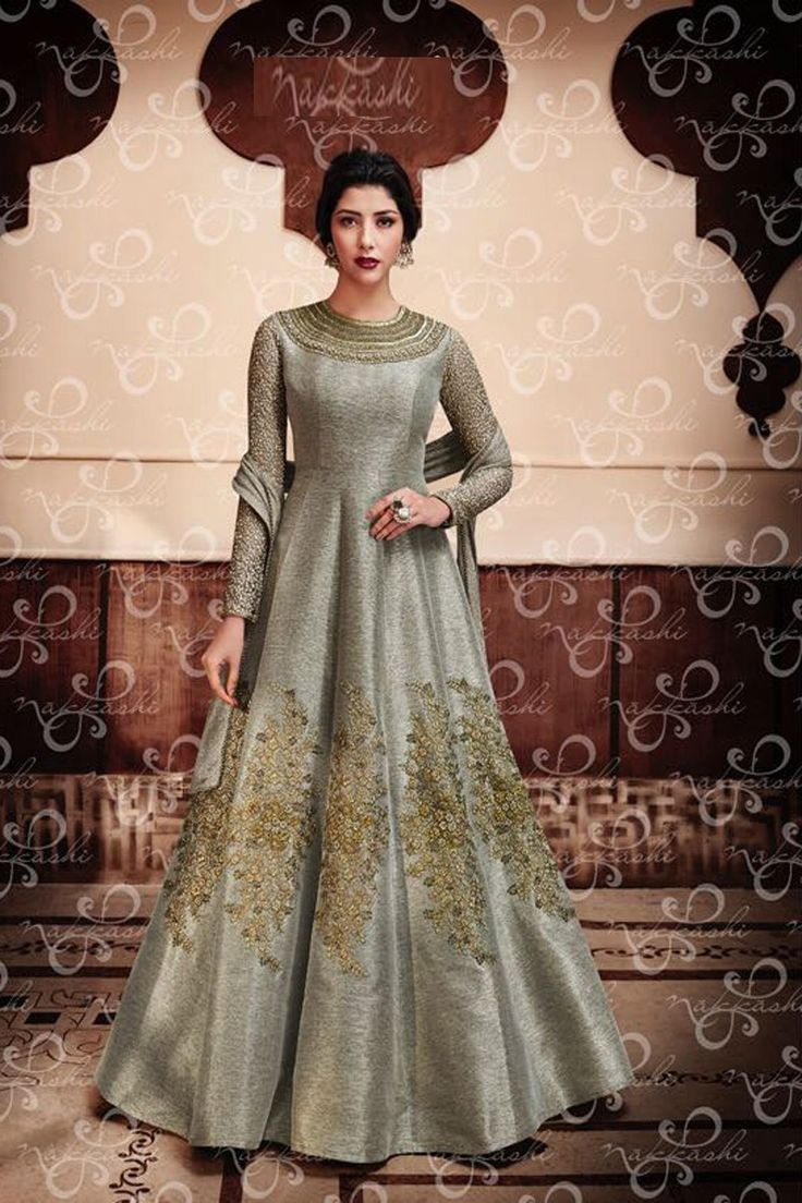 Grey Jute Silk Designer Anarkali Suit With lace Border Net Dupatta