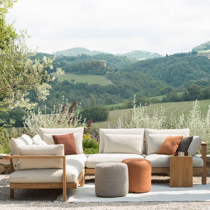 tribu pure sofa modular sections with linen oyster casual cushions - Outdoor Mobel Set Tribu