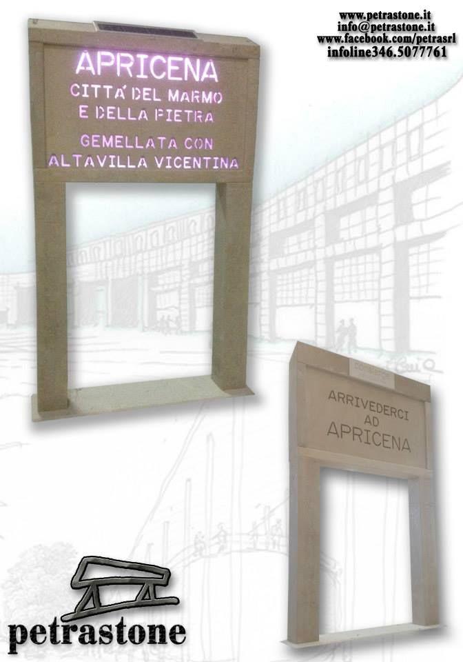 Cartelli di benvenuto in pietra di Apricena