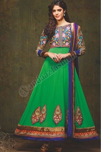 Green Georgette Churidar Suit with Blue available in Pune. Zari, resham embroidery with stone work and patch patta Work. More Details Visit @ http://www.andaazfashion.com.my/eid-collection-2014.html