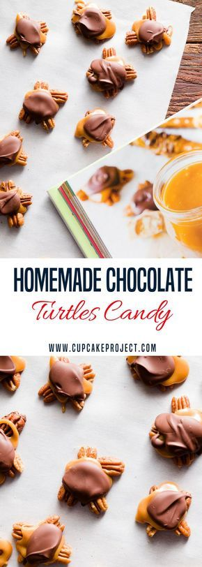 Love chocolate desserts? This Homemade Chocolate Turtles Candy with pecans and salted caramel is a perfect gift for Valentines day! It would be one of the best Valentines ideas you can make. More easy and from scratch baking recipes from #CupcakeProject #dessert #valentinesday