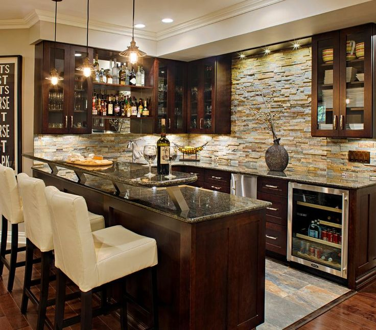 wet bar ideas rustic slate ledgestone bar backsplash 31363