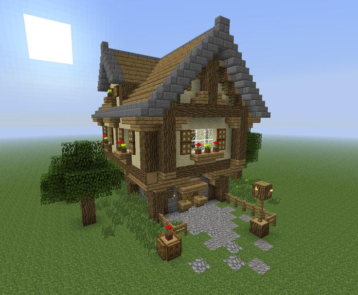 Medieval house minecraft pinterest simple house for Cottage homes to build