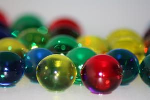 As you increase the amount of water in the ball, you get a more translucent polymer. - Anne Helmenstine