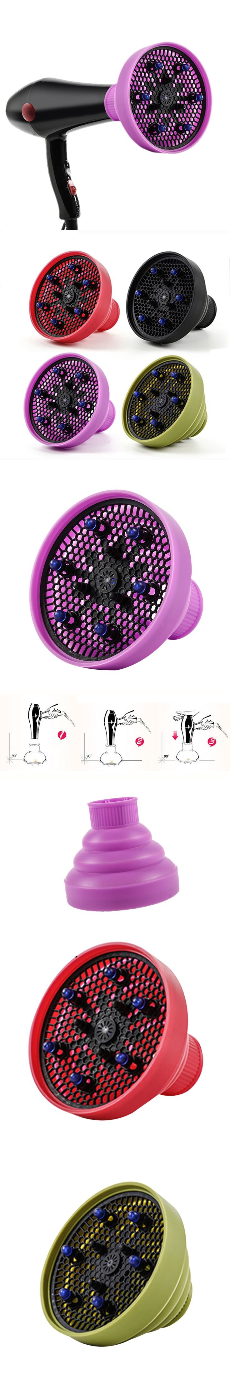 Hot selling Foldable Silicone Salon Curly Hair Dryer Diffuser Cover Styling Hairdressing Curl DIY Blower Makeup Tool Accessory