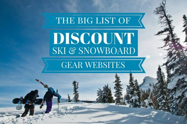 big list of discount ski gear and snowboard gear shops online