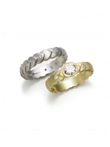 Jane Bohan Laurel Leaf engagement and wedding rings